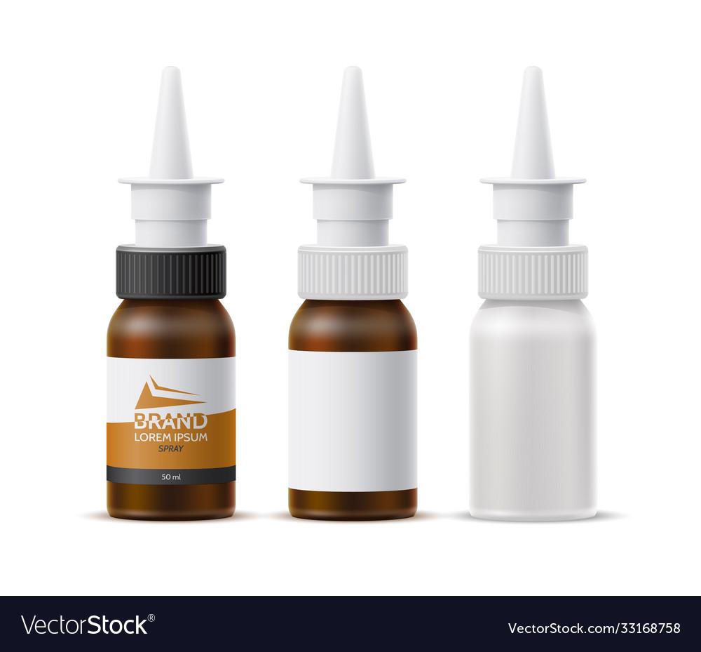 Realistic nasal spray white bottle mockup