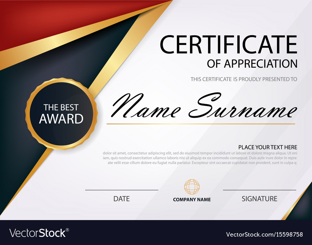 Red And Black Elegance Horizontal Certificate Vector Image