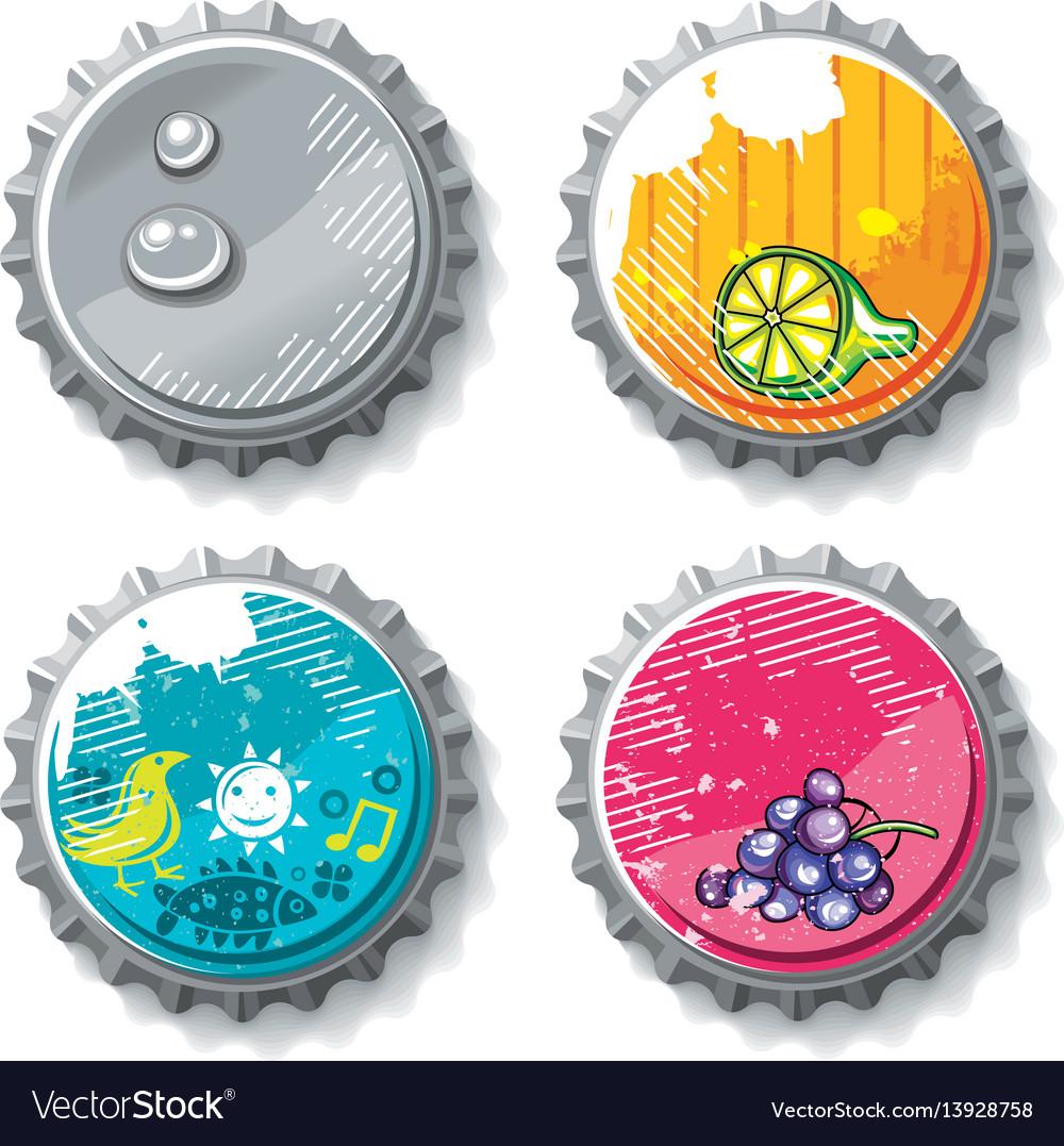 Set of grunge metallic bottle caps