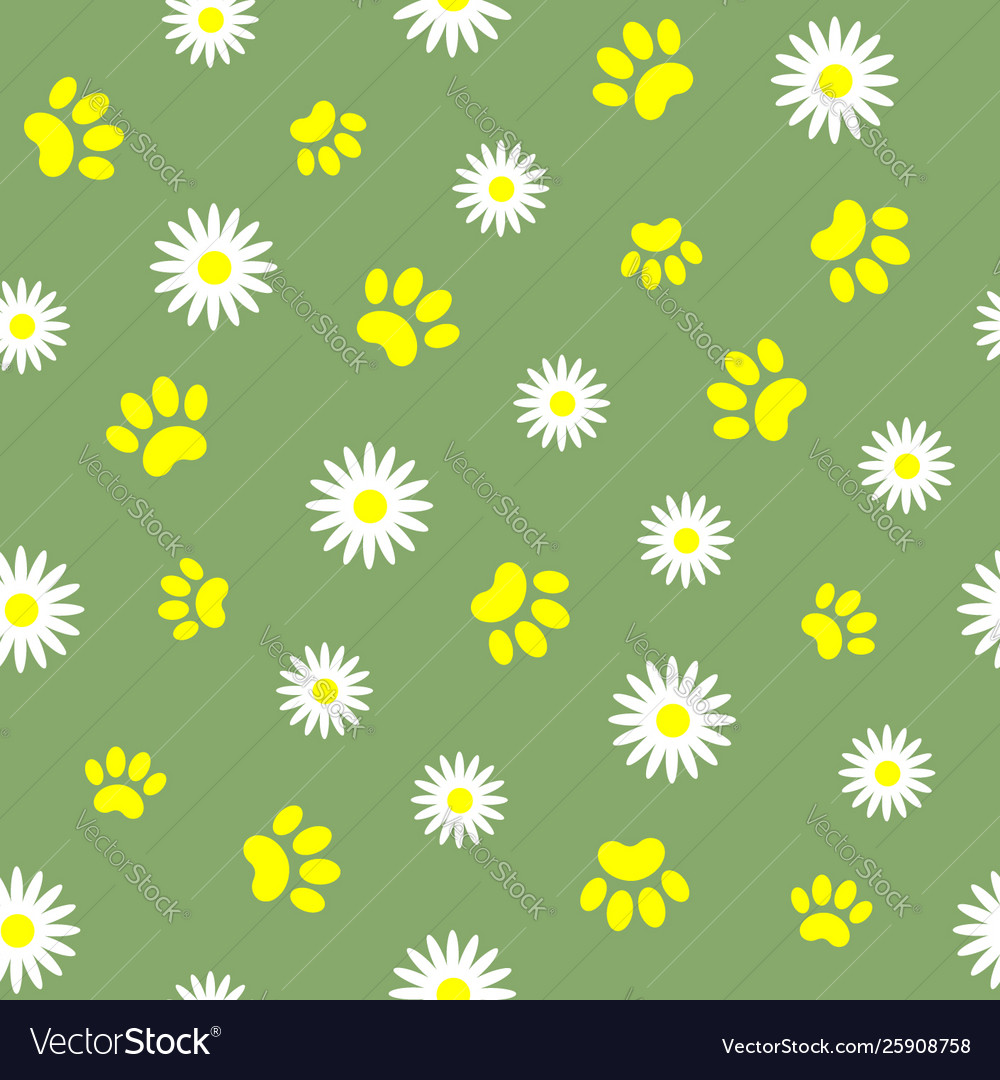 Summer seamless pattern with pet paw prints