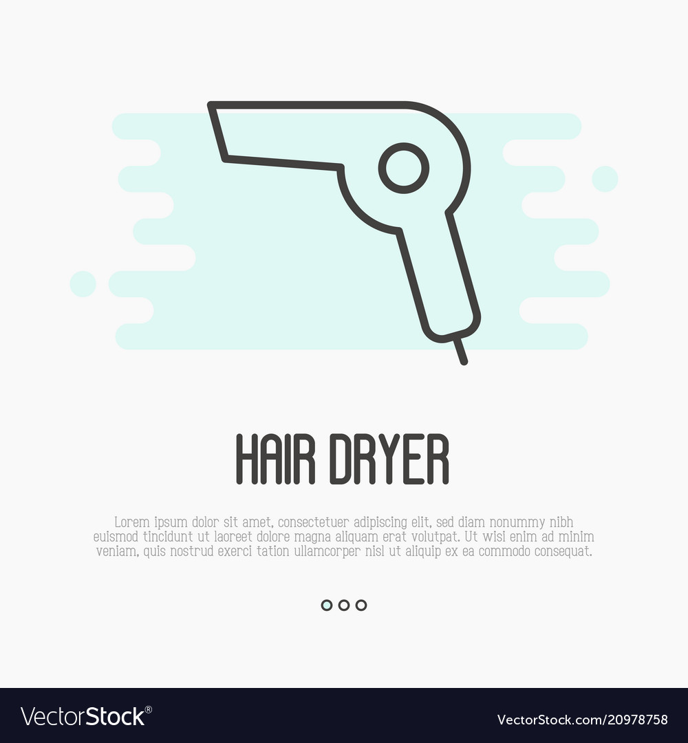 Thin line icon of hairdryer element of logo