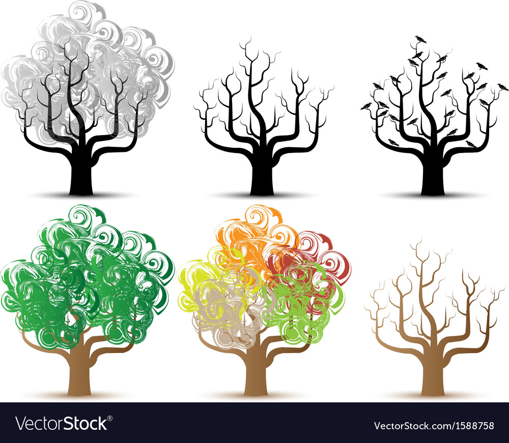 TREE HELLOWEEN AND SEASON SERIES vector image
