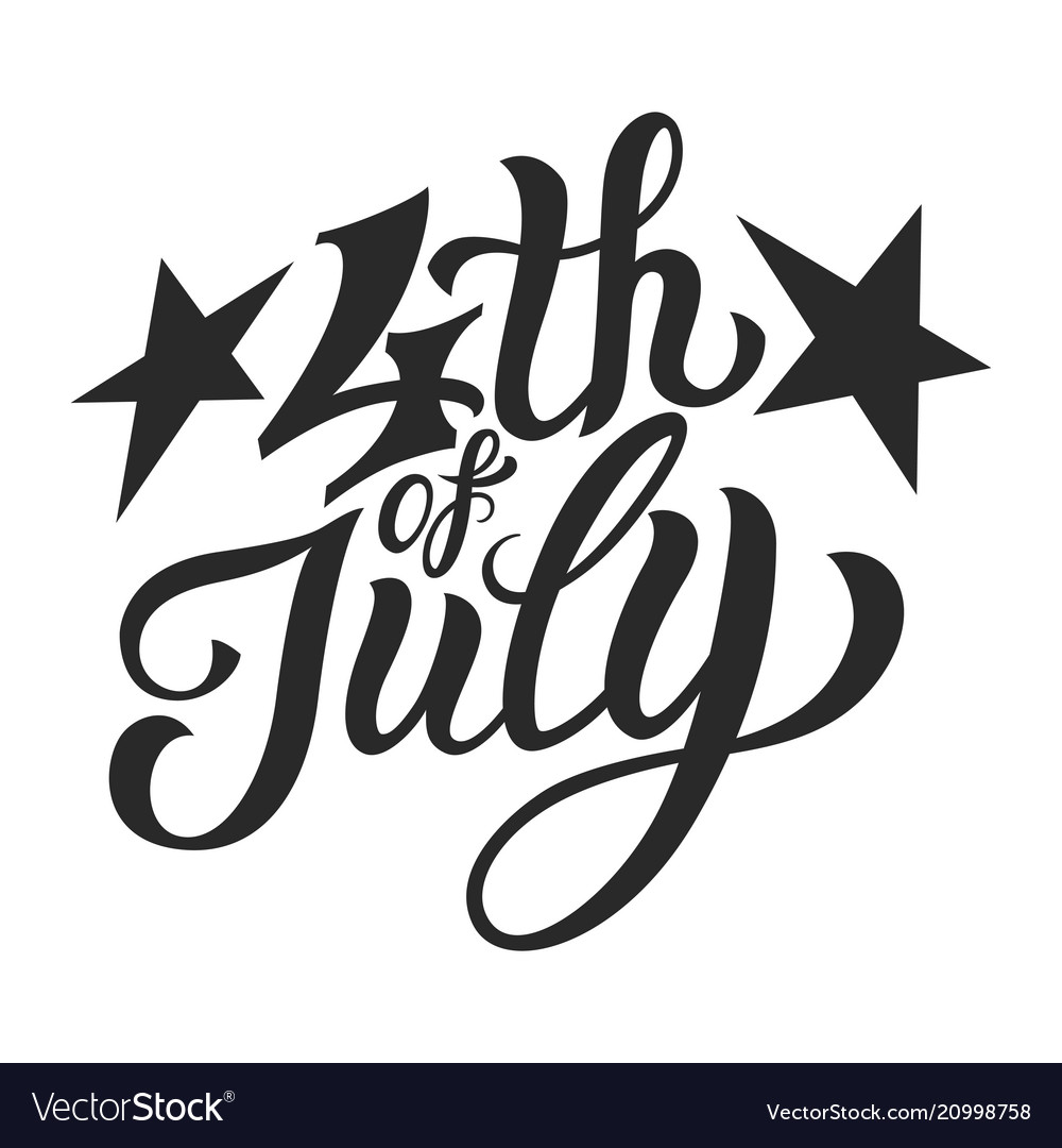 Vintage fourth of july lettering template
