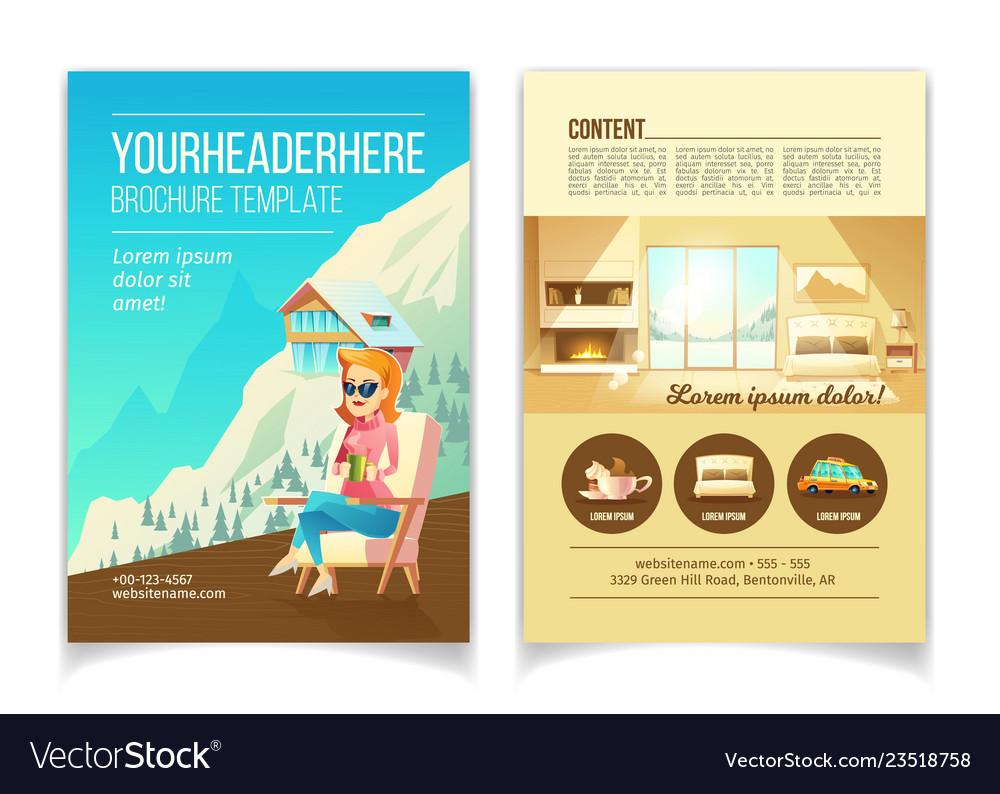 Winter resort cartoon brochure template