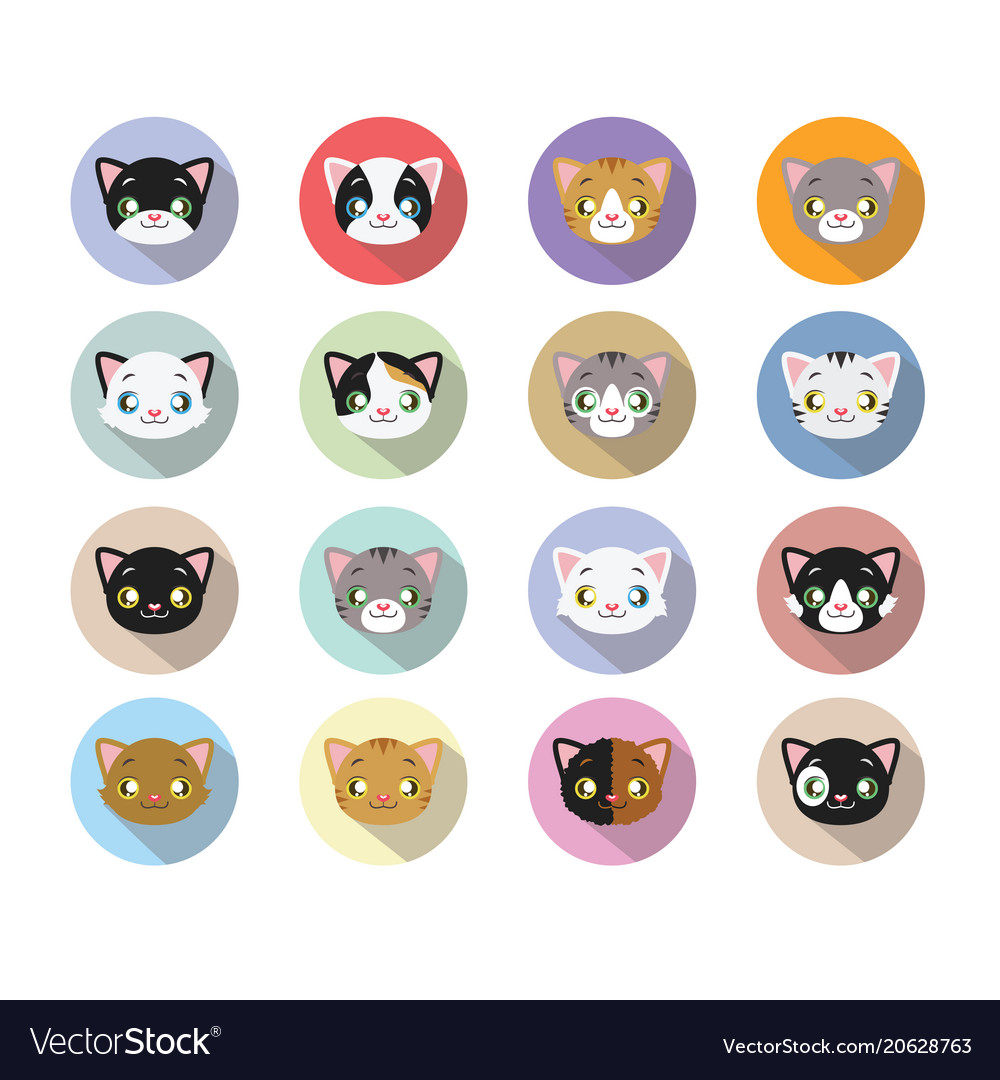 16 kitty head icons with long shadow vector image