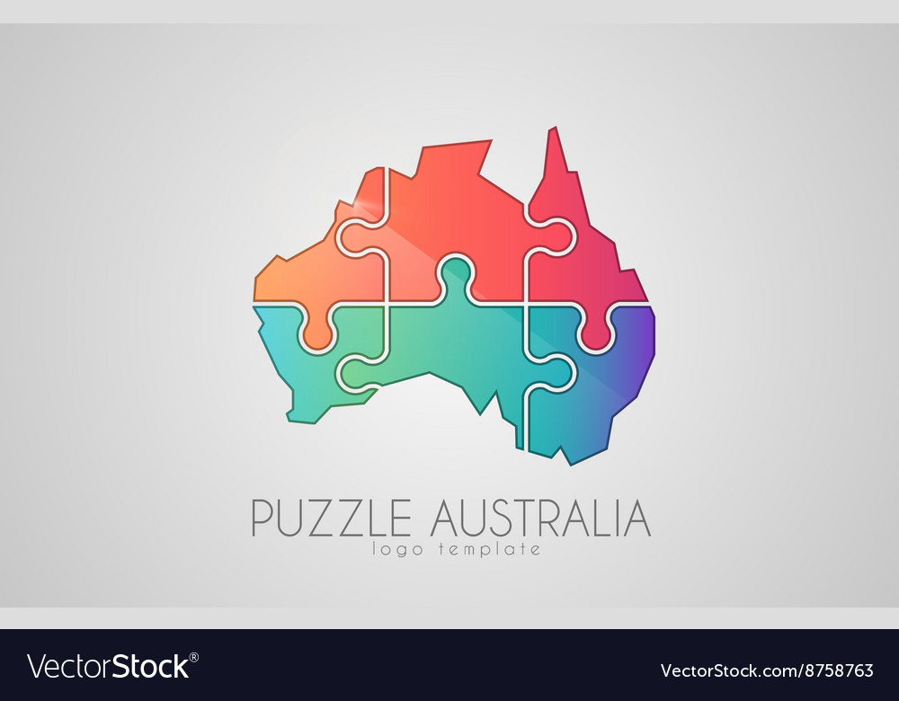 Map Of Australia Jigsaw Puzzle.Australia Logo Puzzle Australia Creative Logo
