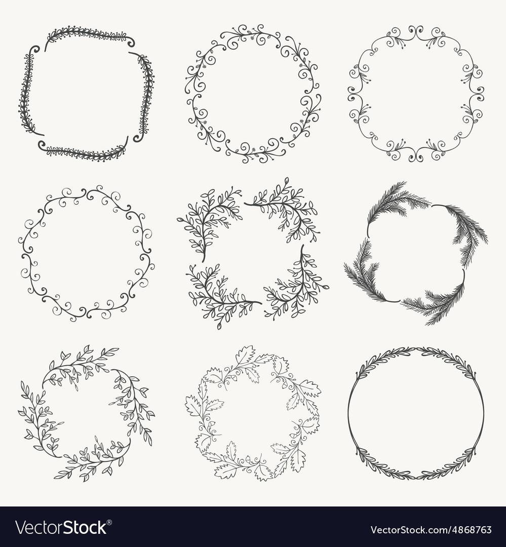 Black Hand Sketched Floral Frames Borders