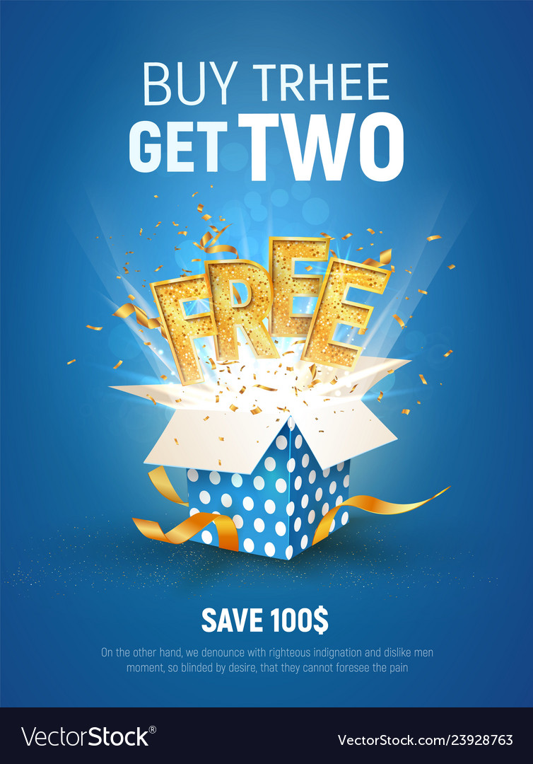 Buy 3 Get 2 Free Ad Special Royalty Free Vector Image