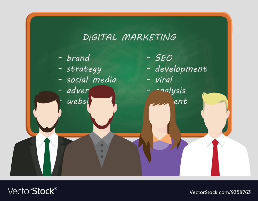 Digital marketing team line up work on front of
