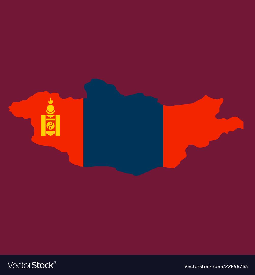 Flag map of mongolia