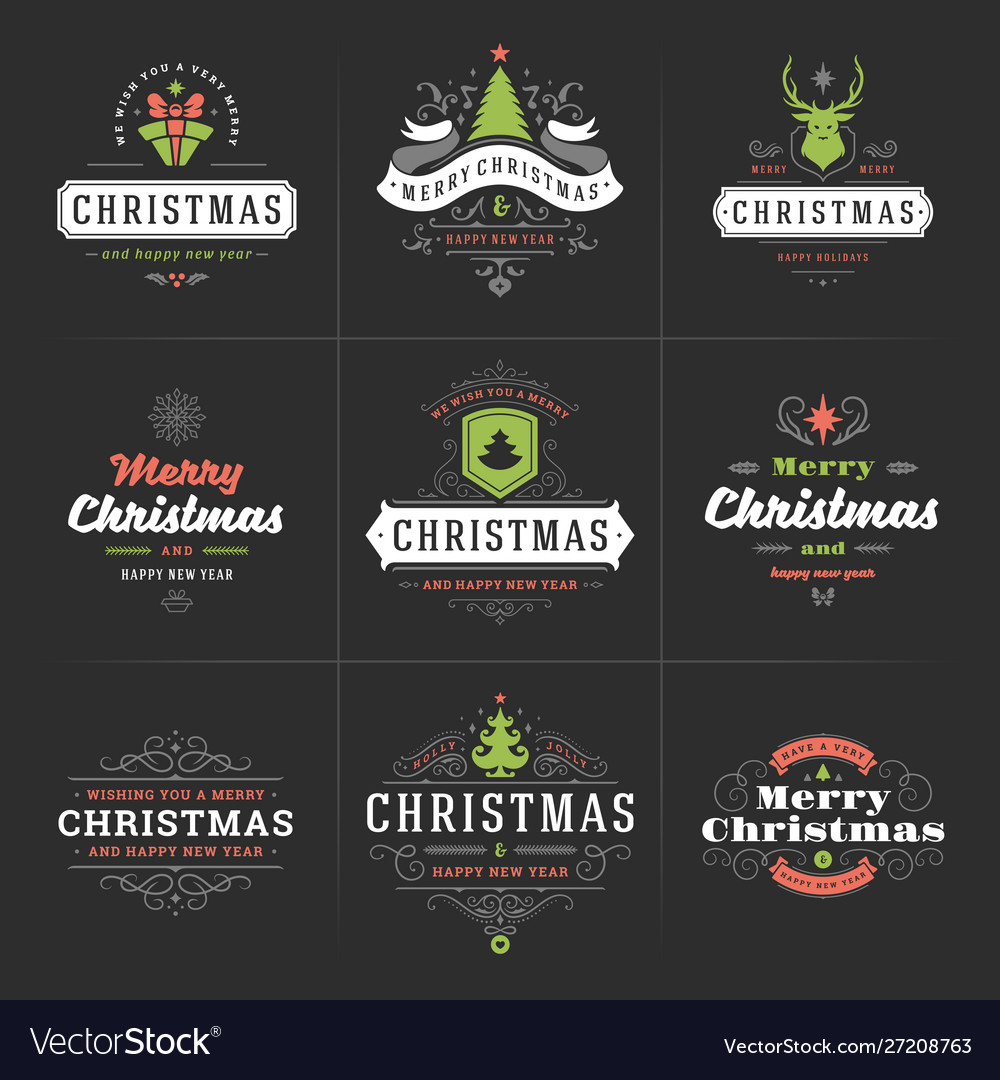 Merry christmas ornate labels and badges