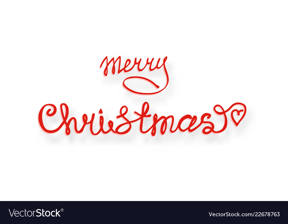 Merry christmas red hand lettering inscription for