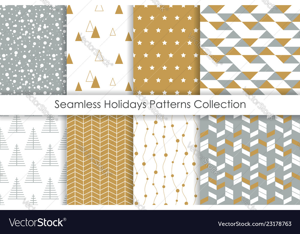 Set christmas seamless patterns collection