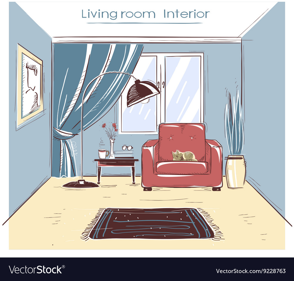 Sketchy of living room interior color hand d