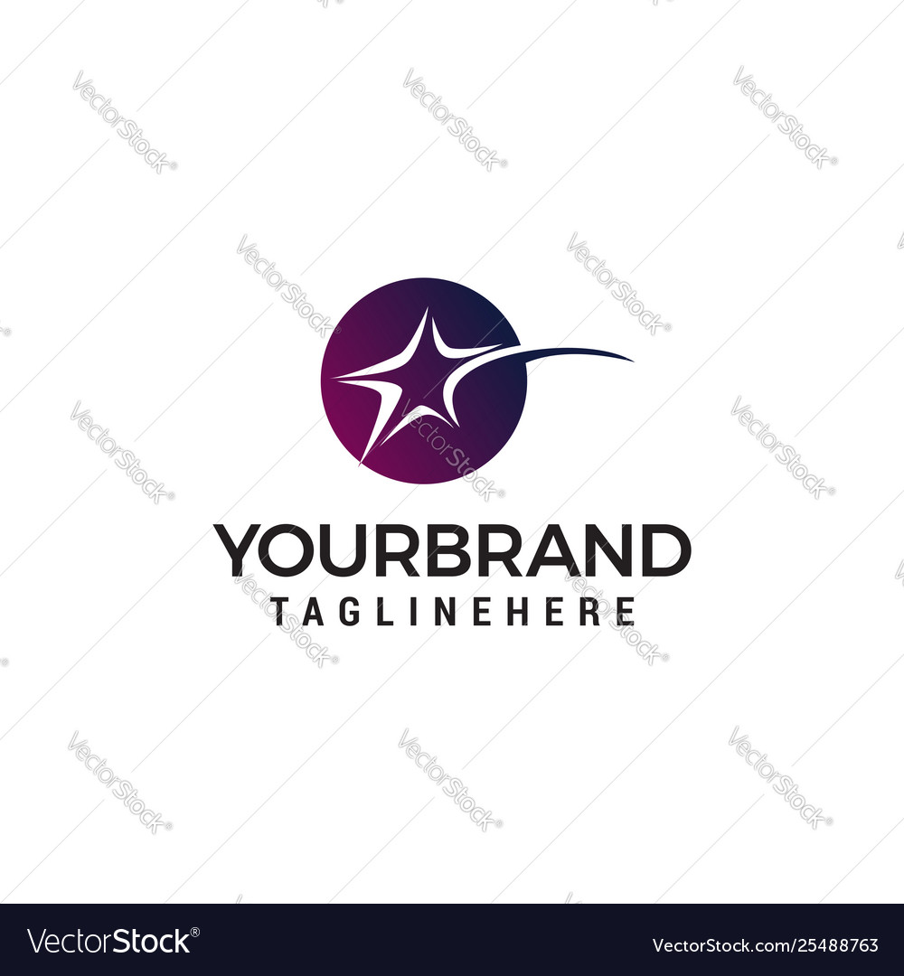 Star fast circle logo design concept template
