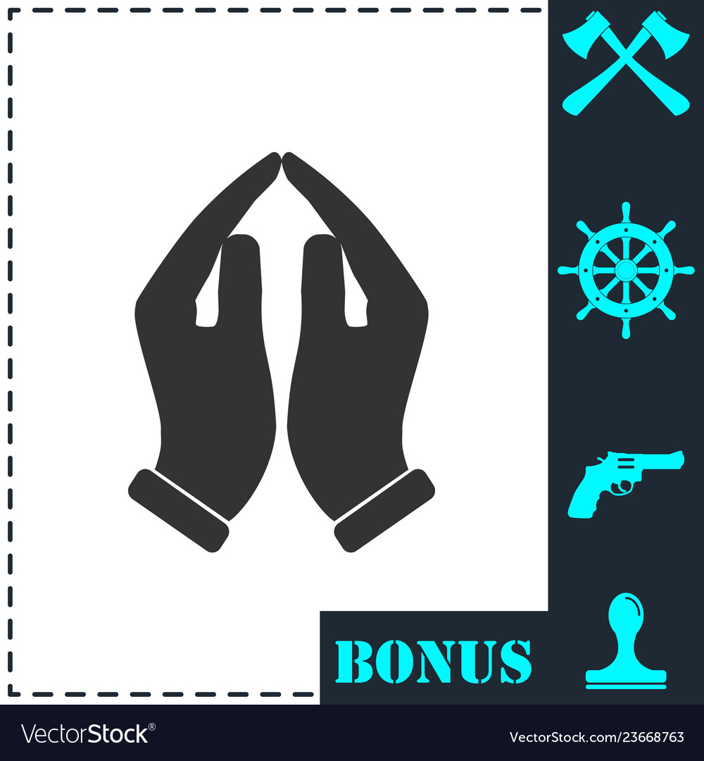 Supporting hands icon flat