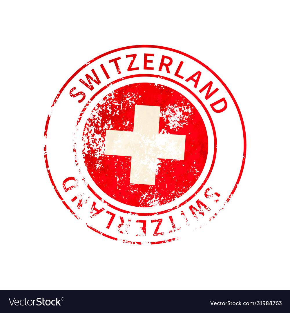 Switzerland sign vintage grunge imprint with flag
