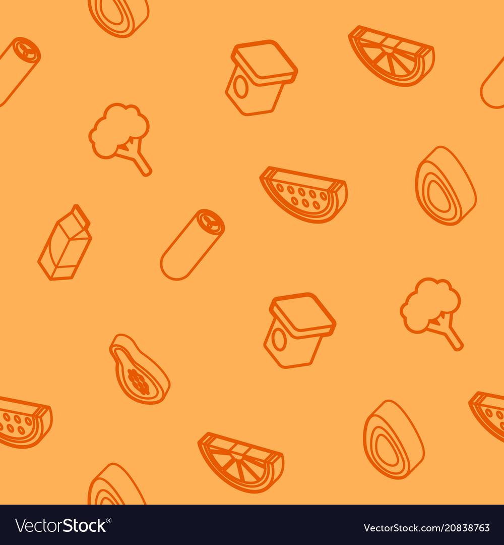 Vegan life outline isometric icons pattern