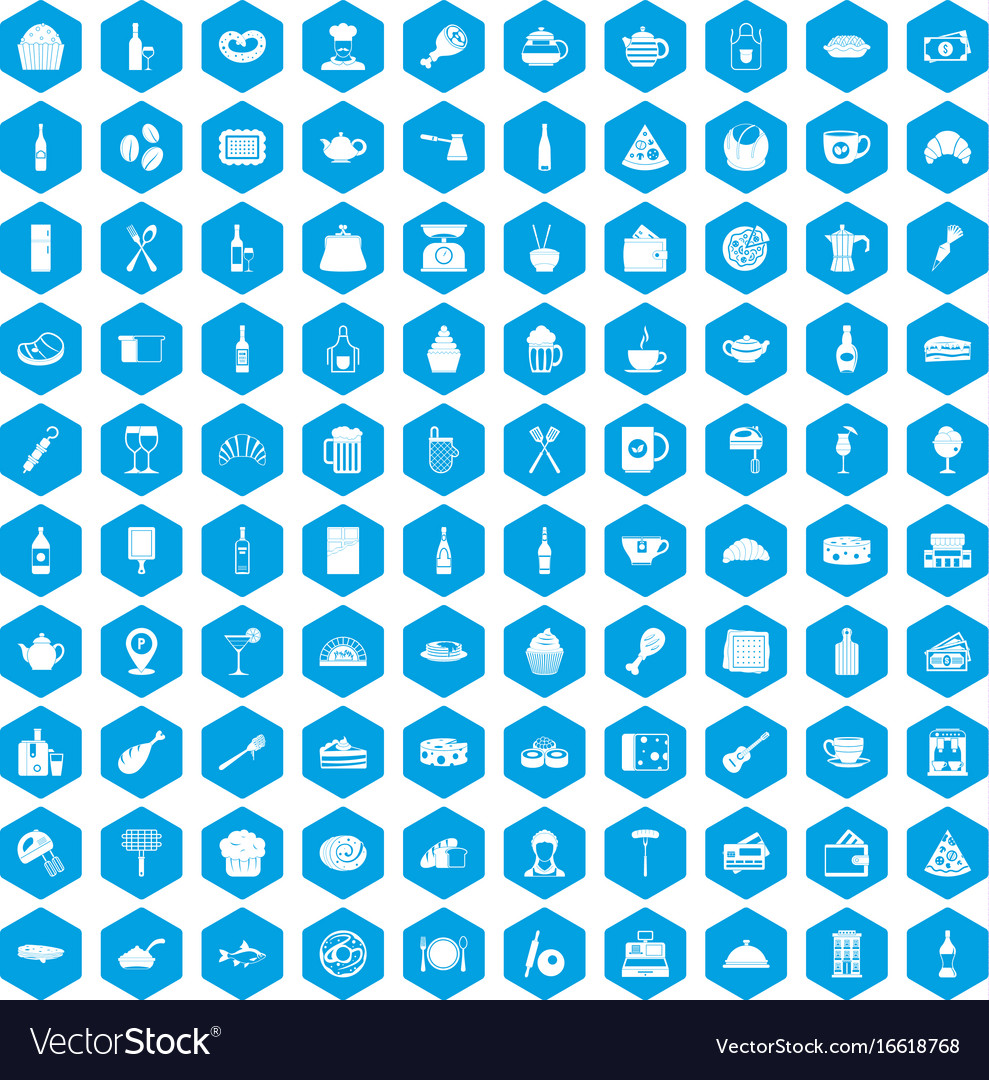 100 restaurant icons set blue vector image