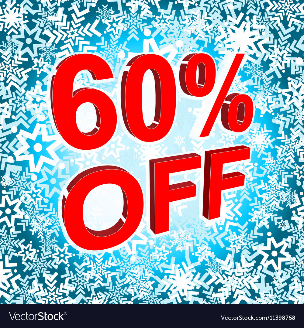 Big winter sale poster with 60 PERCENT OFF text