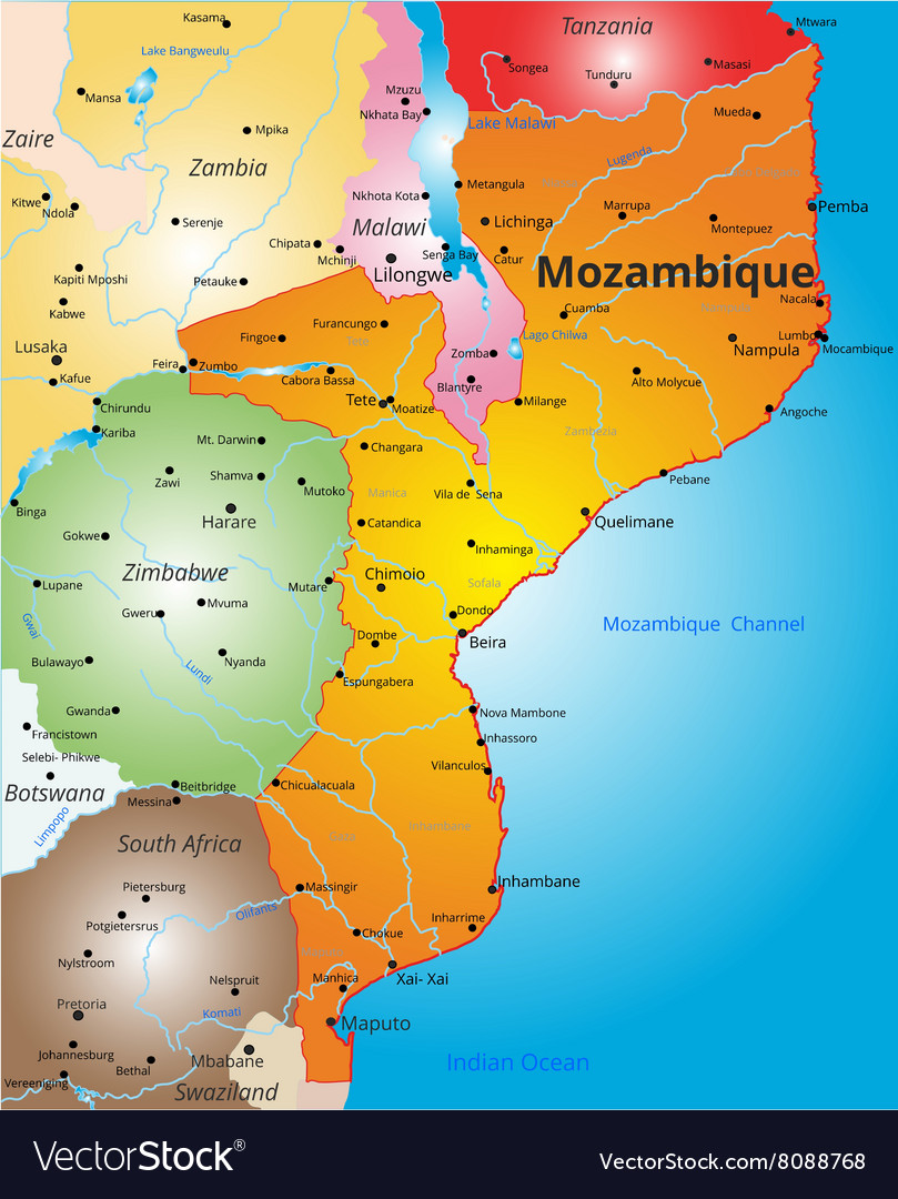 Map Of Mozambique Color map of Mozambique country Royalty Free Vector Image