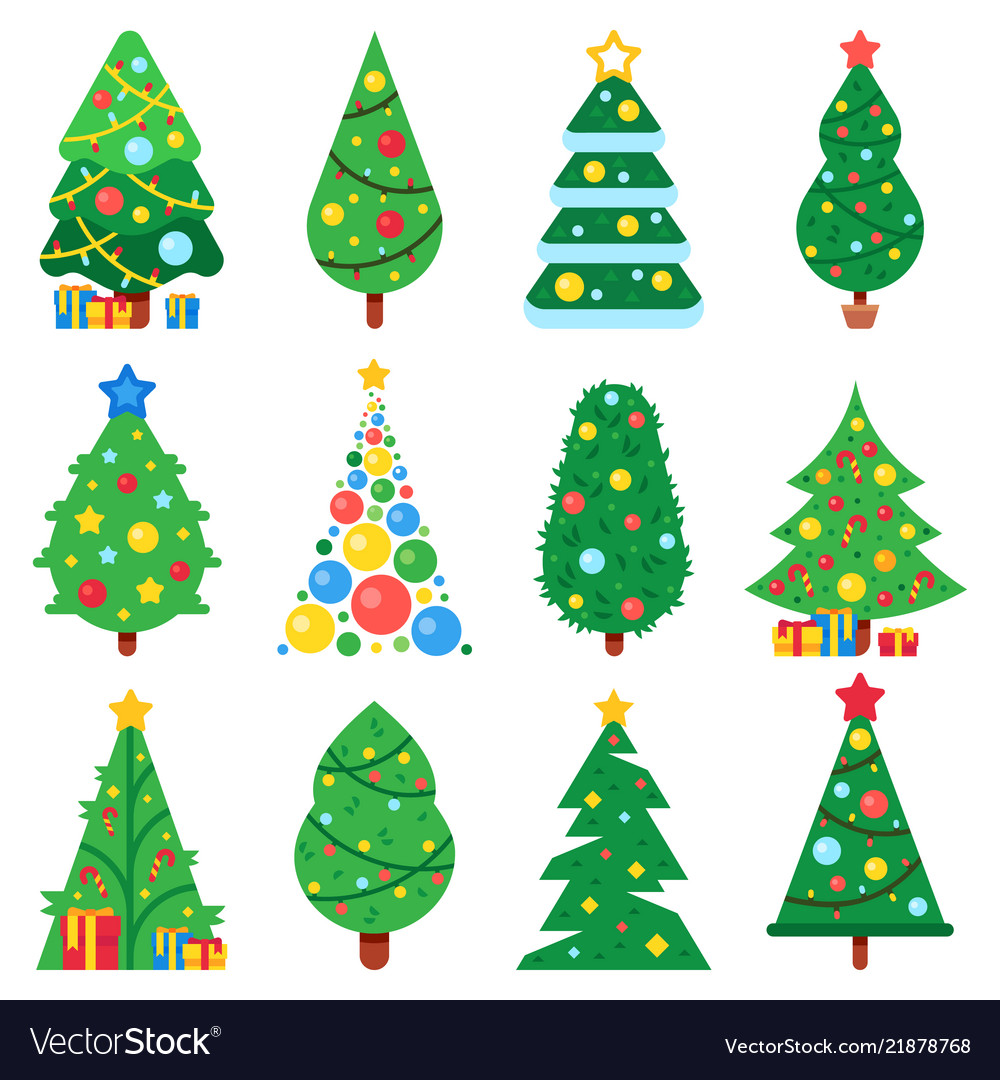 Flat paper christmas tree winter holidays trees Vector Image