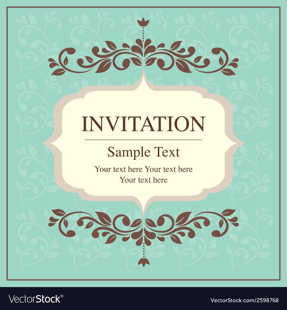 Invitation card vintage style royalty free vector image invitation card vintage style vector image stopboris Choice Image