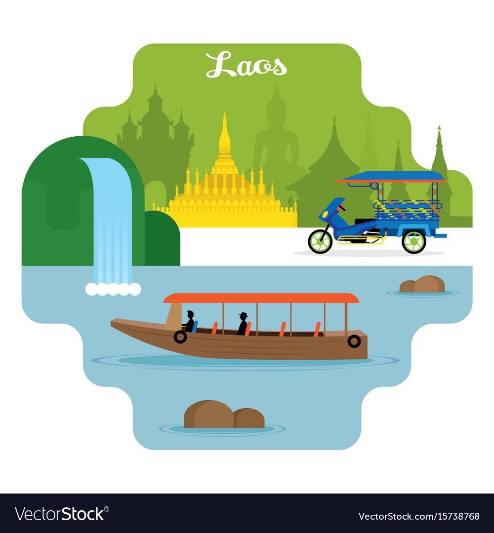 Laos travel and attraction landmarks vector image