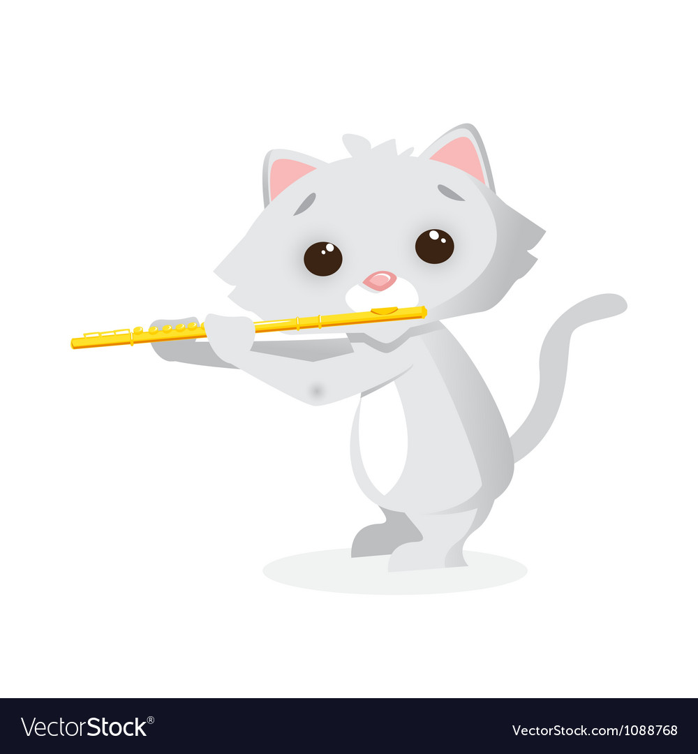 Musical animals Kitty flute vector image