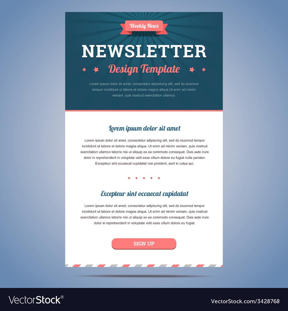 Newsletter Design Template Vector Image On Vectorstock
