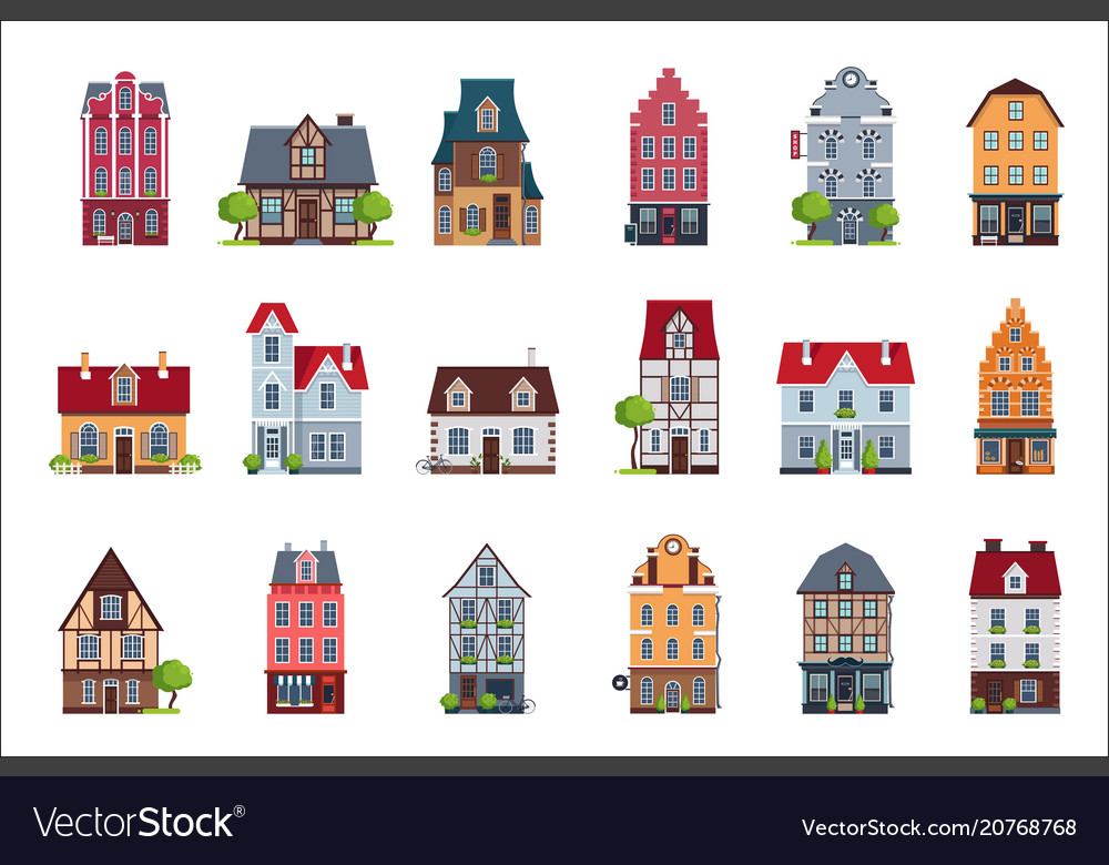 Old european houses facade set colorful houses of