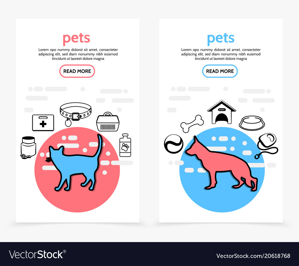 Pets care vertical banners