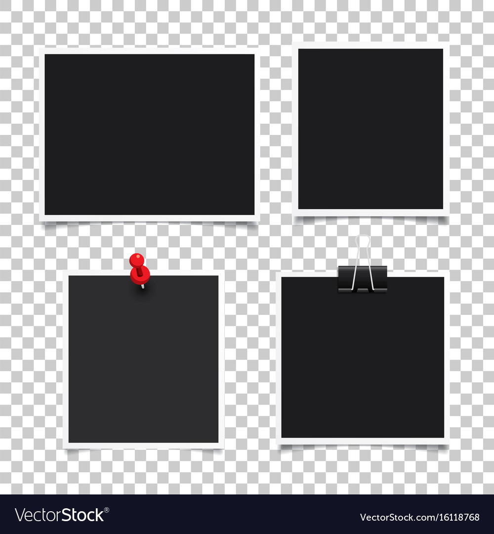 Photo frameset of realistic paper instant vector image