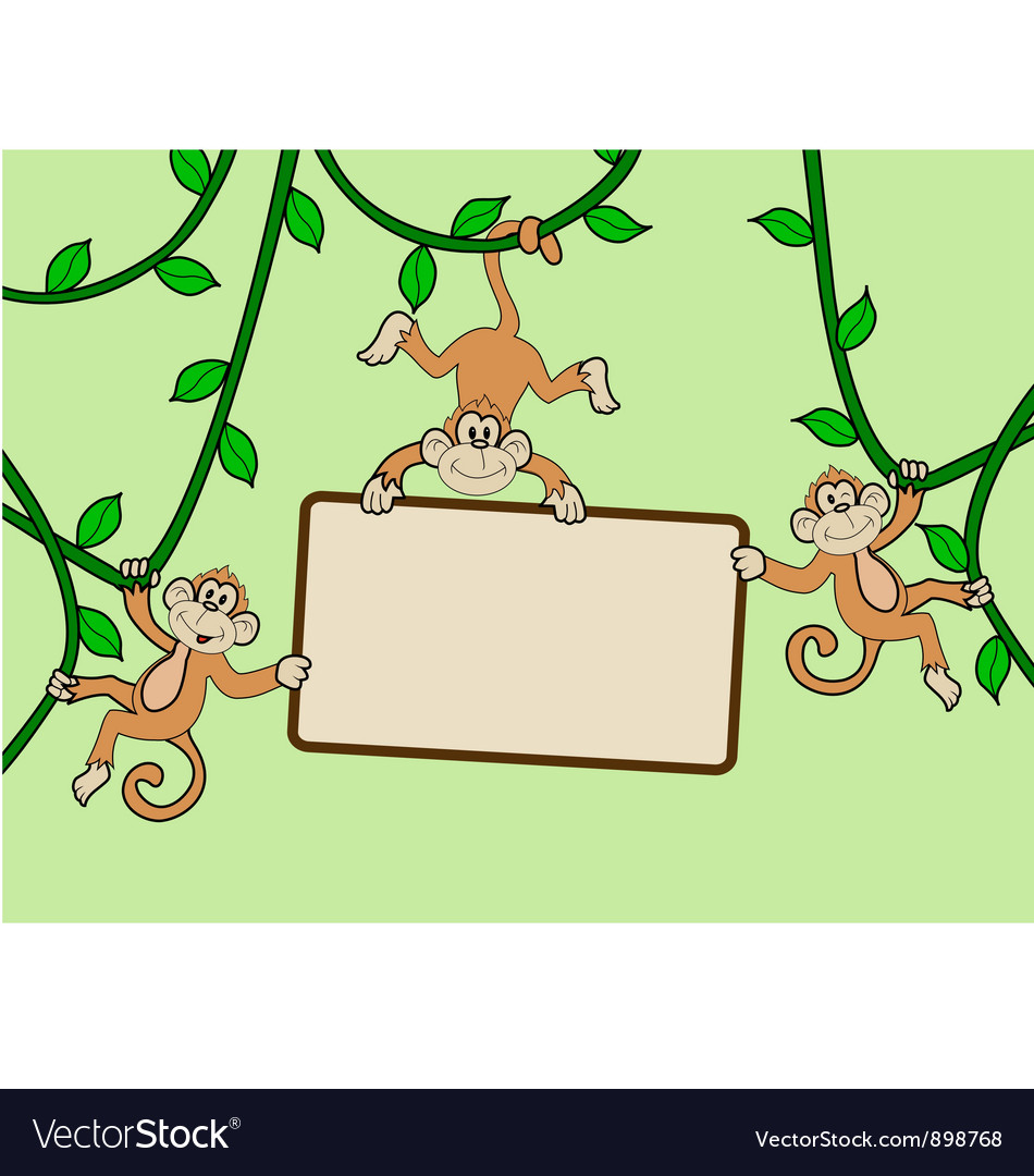 Three monkey with blank sign