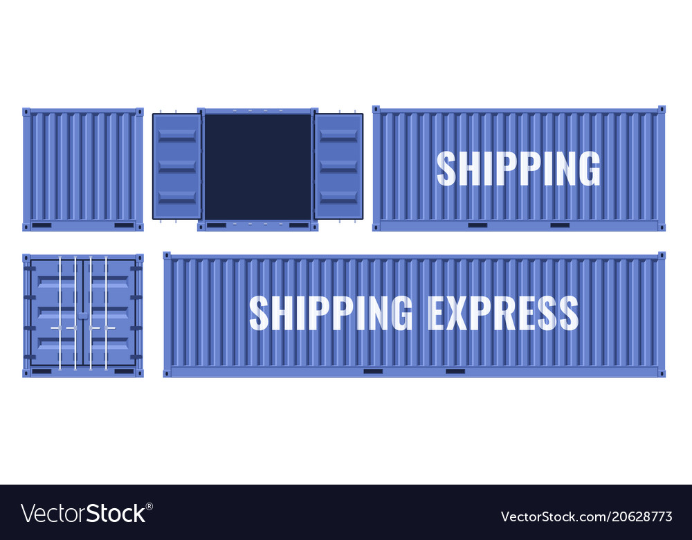 Blue shipping cargo metal container from different