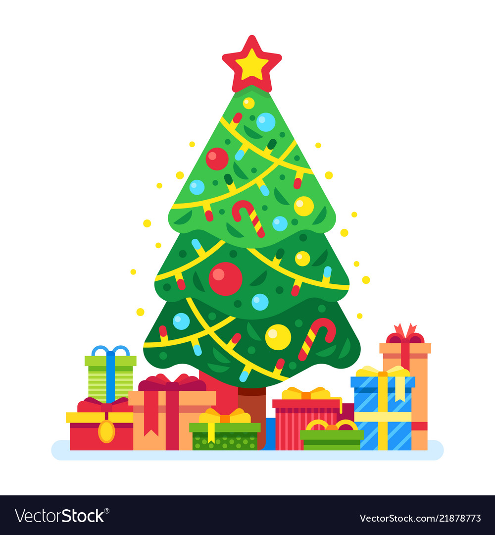 Images Of Christmas Trees.Christmas Tree And Gift Boxes Xmas Present Under