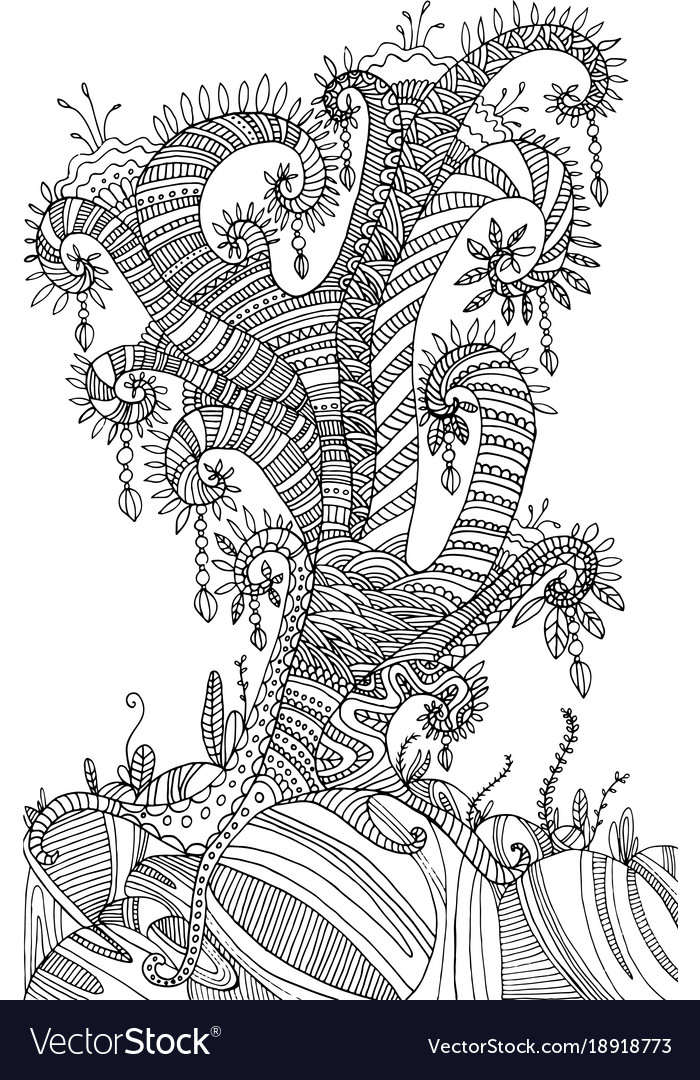 Coloring page with surreal landscape tre