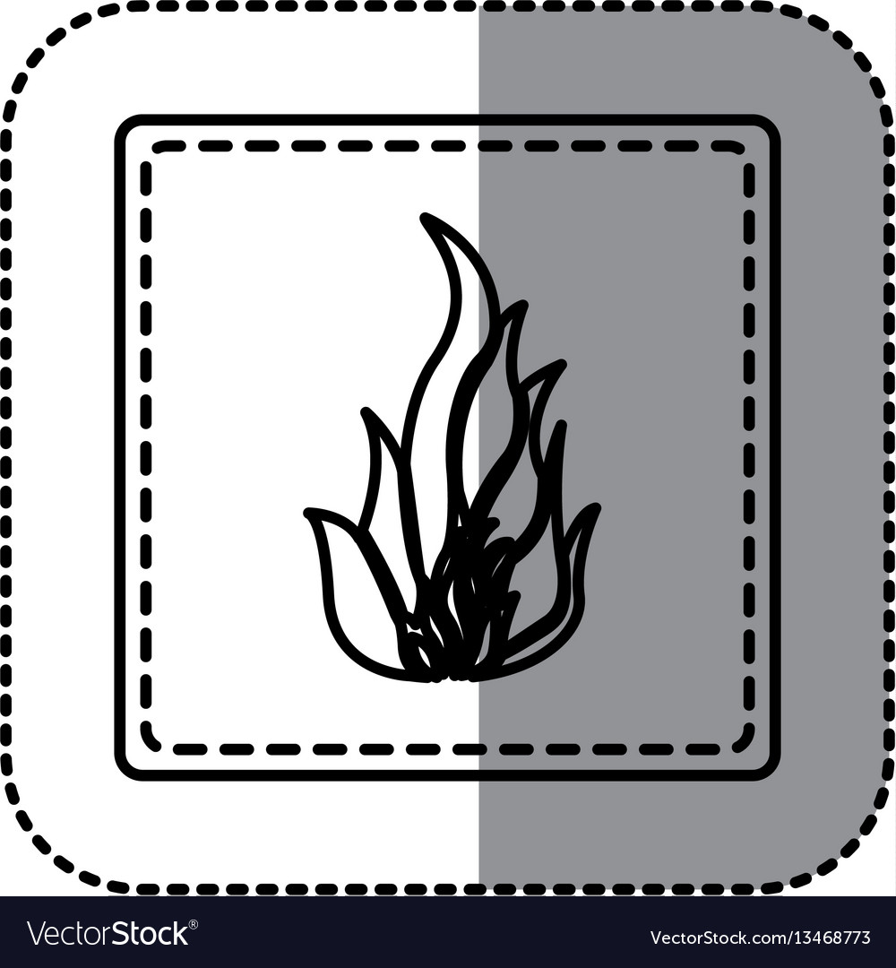 Contour emblem sticker fire icon