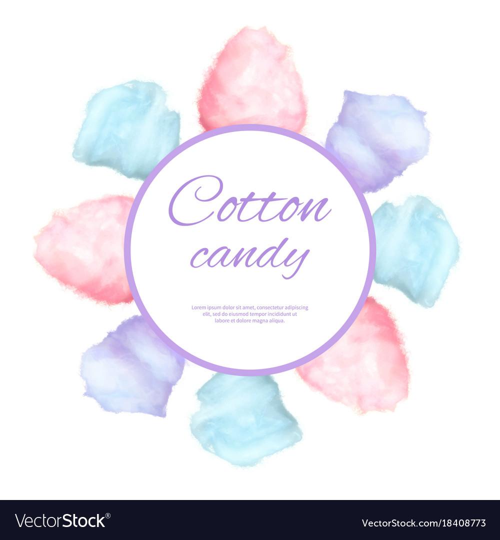 Cotton candy round button surround by sweet sugar