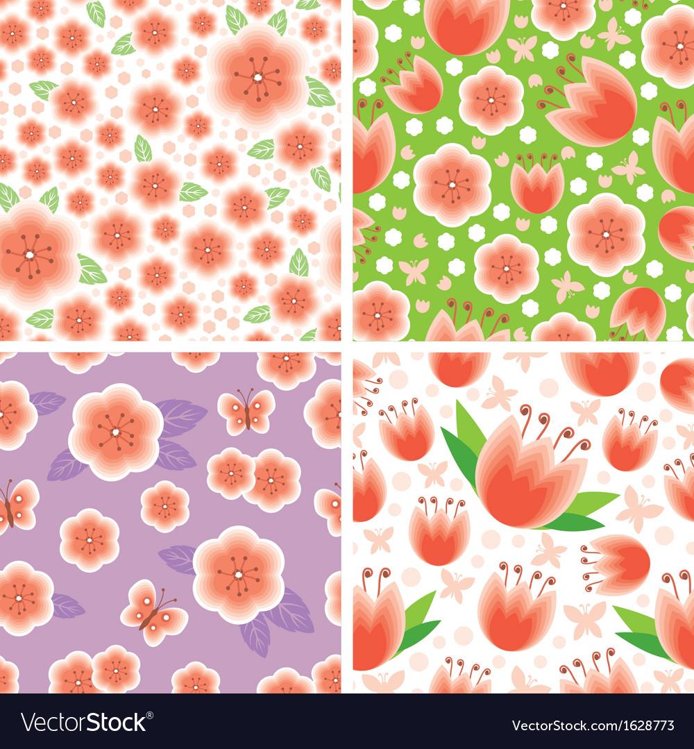 Flower pink pattern set