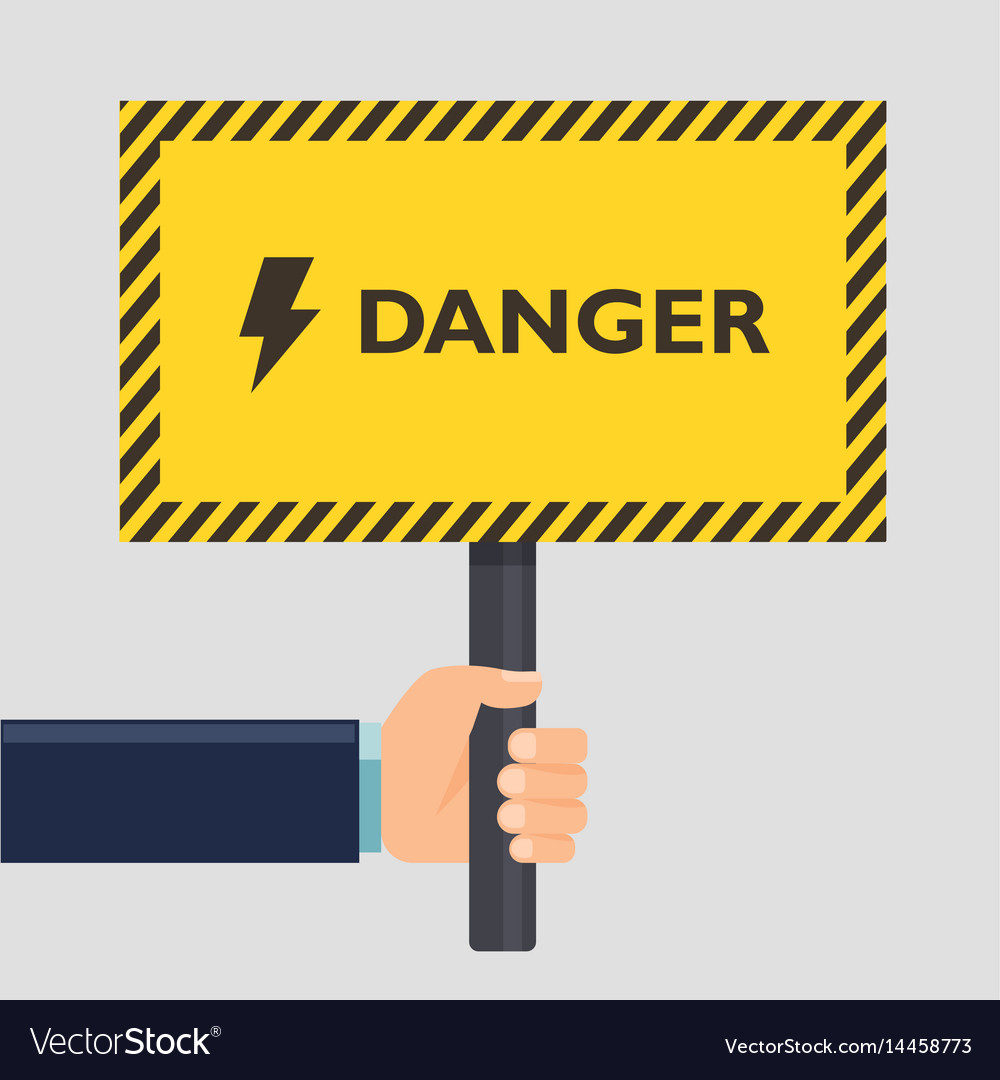 Hand holding yellow stop danger sign flat style vector image