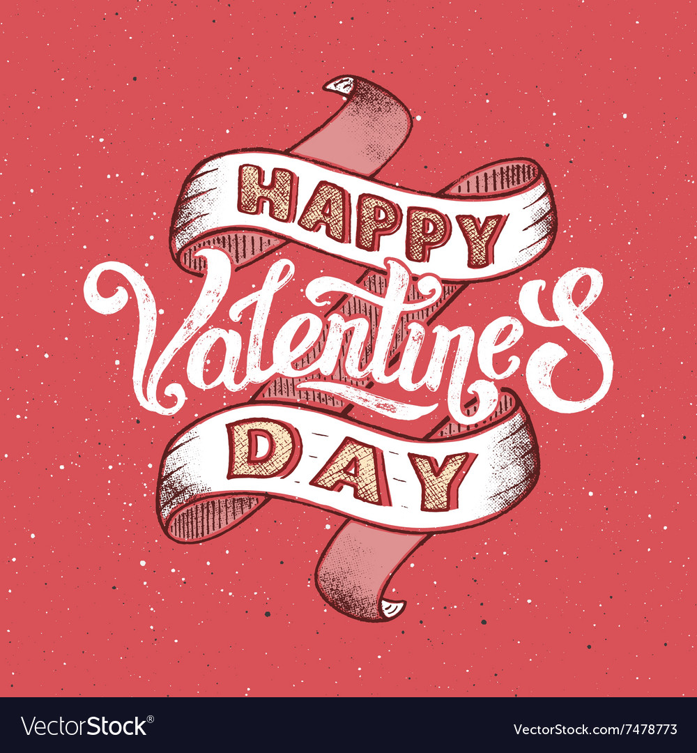 Happy Valentines Day Vintage Poster Royalty Free Vector
