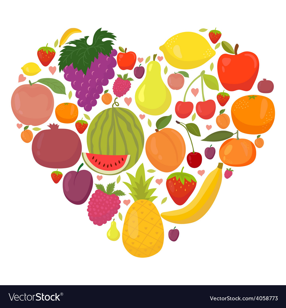 Healthy lifestyle fruit heart vector image