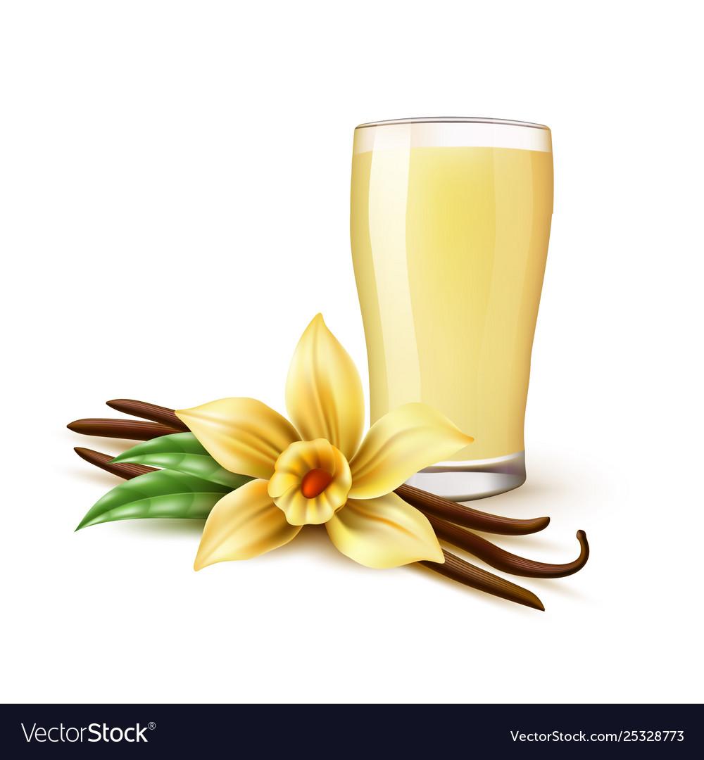 Realistic vanilla milkshake in glass flower