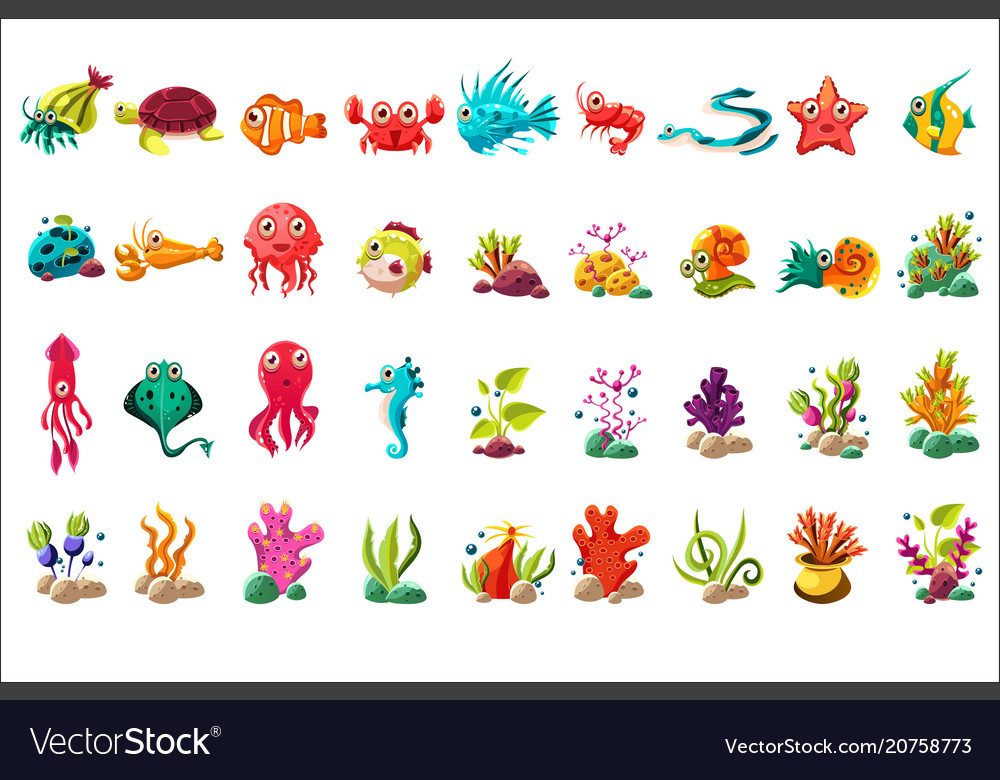 Sea creature big set colorful cartoon ocean