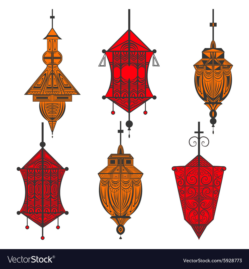 Set of ornamental ethnic lanterns in two colors