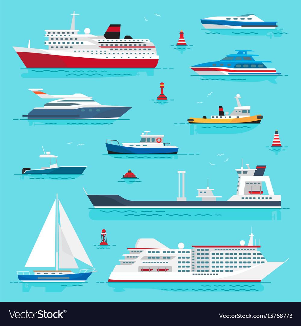 Set of sea transport on blue water flat design