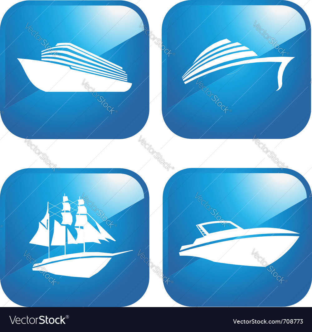Set of web boat icons vector image