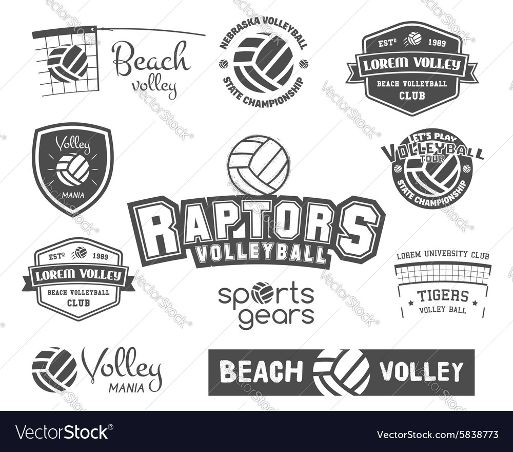 Volleyball labels badges logo and icons set