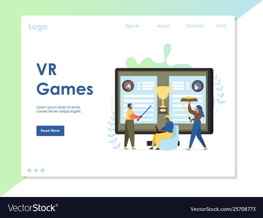 Vr games website landing page design